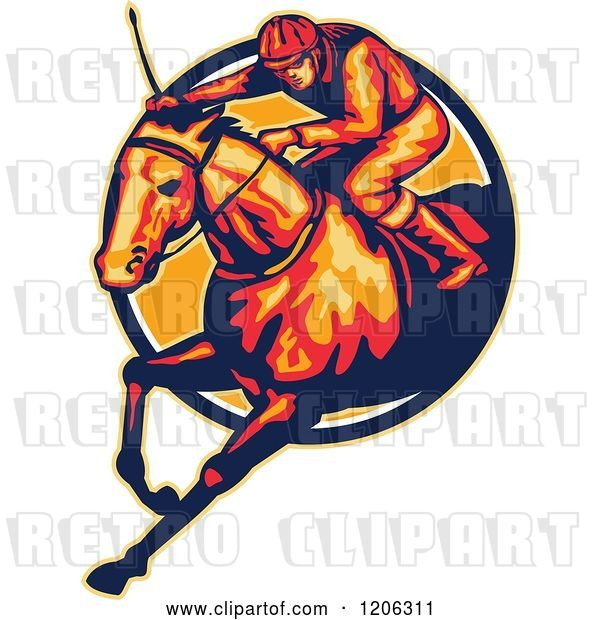 Vector Clip Art of Retro Racing Jockey and Horse Leaping Through a Circle
