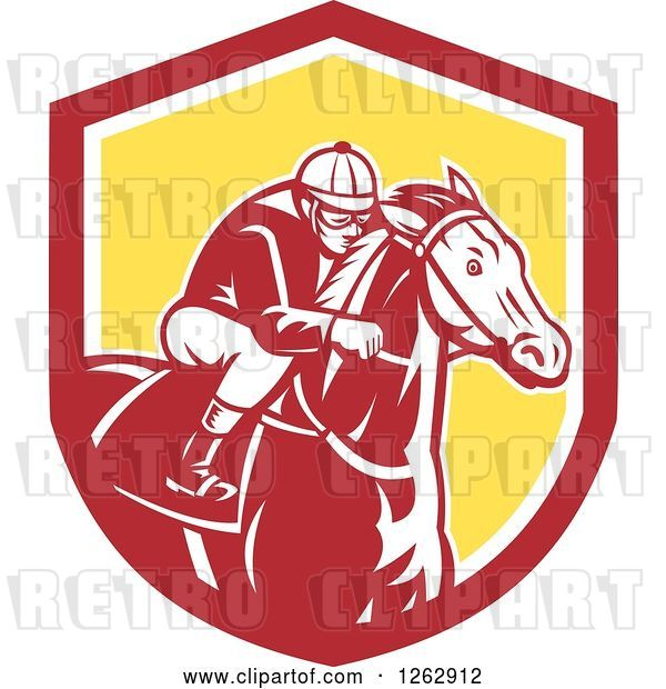 Vector Clip Art of Retro Racing Jockey in a Red White and Yellow Shield