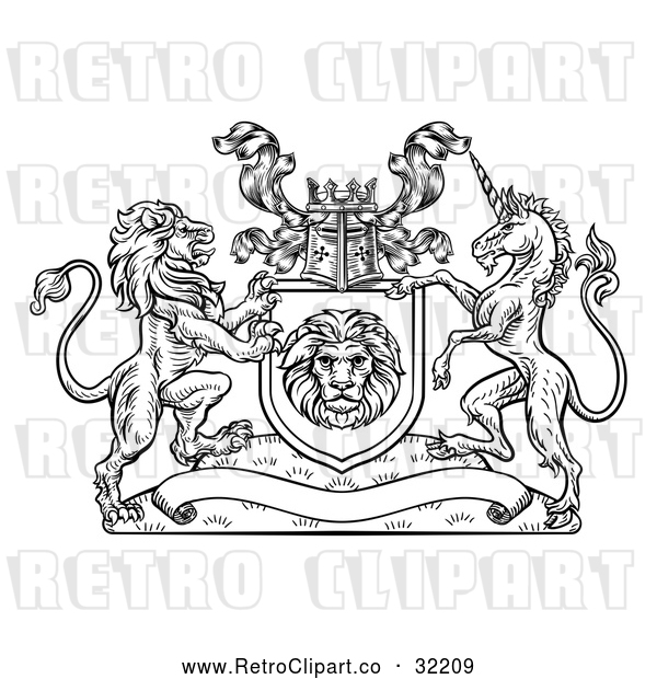 Vector Clip Art of Retro Rampant Lion and Unicorn Flanking a Shield over a Banner, Woodcut