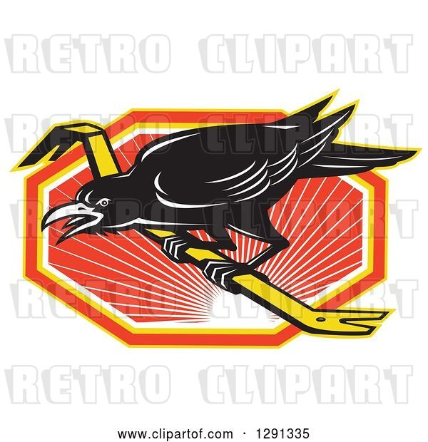 Vector Clip Art of Retro Raven on a Crowbar over an Orange White and Yellow Sunset Hexagon