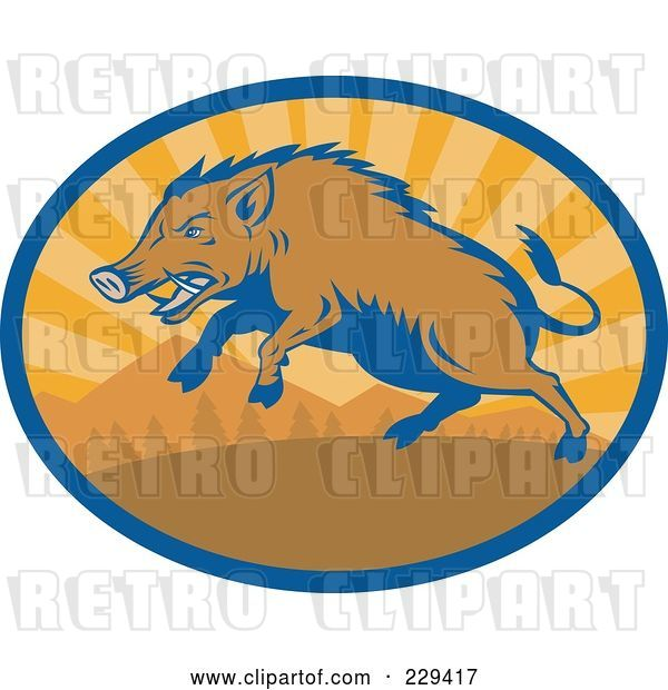 Vector Clip Art of Retro Razorback Boar Running Logo