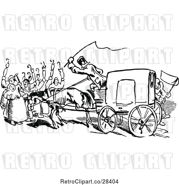 Vector Clip Art of Retro Rear View of a Carriage and People Blocking