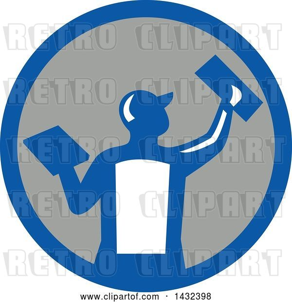 Vector Clip Art of Retro Rear View of a Male Plasterer Worker Using Trowels in a Blue White and Gray Circle
