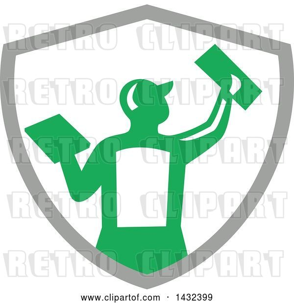 Vector Clip Art of Retro Rear View of a Male Plasterer Worker Using Trowels in a Gray White and Green Crest