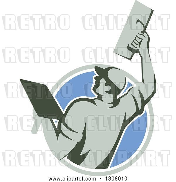 Vector Clip Art of Retro Rear View of a Male Plasterer Working with a Trowel and Emerging from a Gray White and Blue Circle