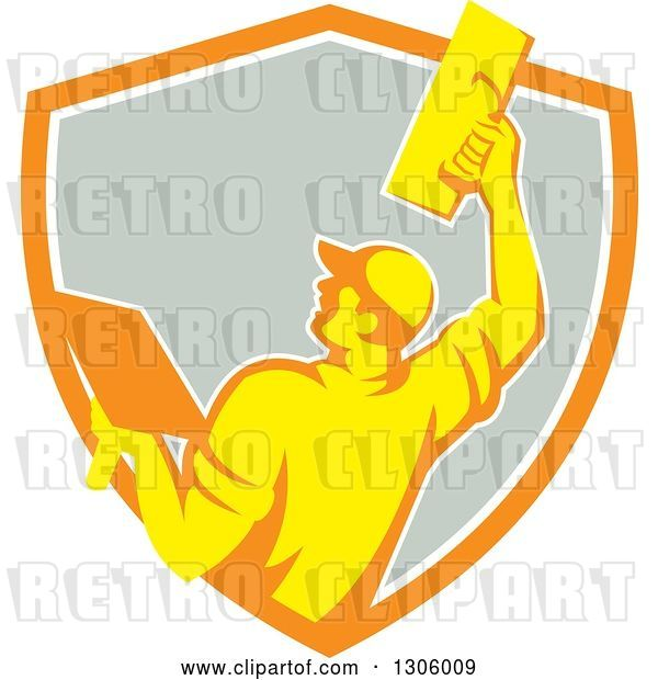 Vector Clip Art of Retro Rear View of a Male Plasterer Working with a Trowel and Emerging from an Orange White and Gray Shield