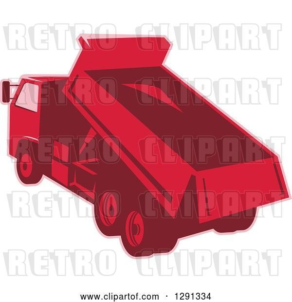 Vector Clip Art of Retro Rear View of a Red Toned Dump Truck Unloading