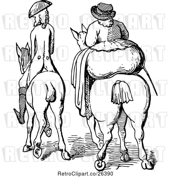 Vector Clip Art of Retro Rear View of a Skinny Guy and Fat Lady on Horses