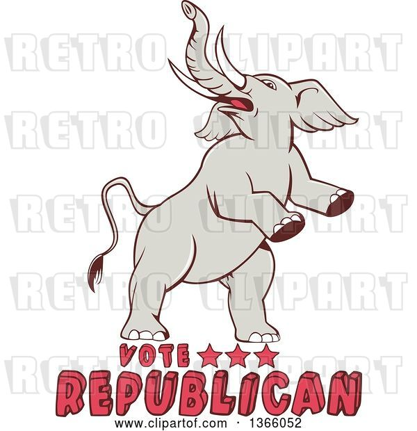 Vector Clip Art of Retro Rearing Political Elephant with Vote Republican Text