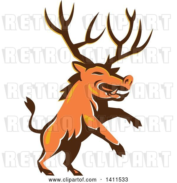 Vector Clip Art of Retro Rearing Razorback Boar Pig Beast with Antlers
