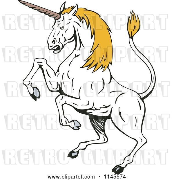 Vector Clip Art of Retro Rearing White Unicorn with Yellow Hair