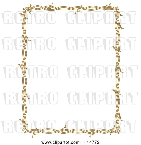 Vector Clip Art of Retro Rectangle Border Frame of Barbed Wire over a White Background