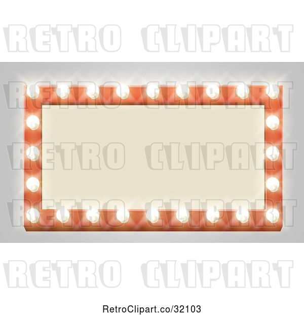 Vector Clip Art of Retro Rectangular Marquee Theater Sign with Light Bulbs on Gray