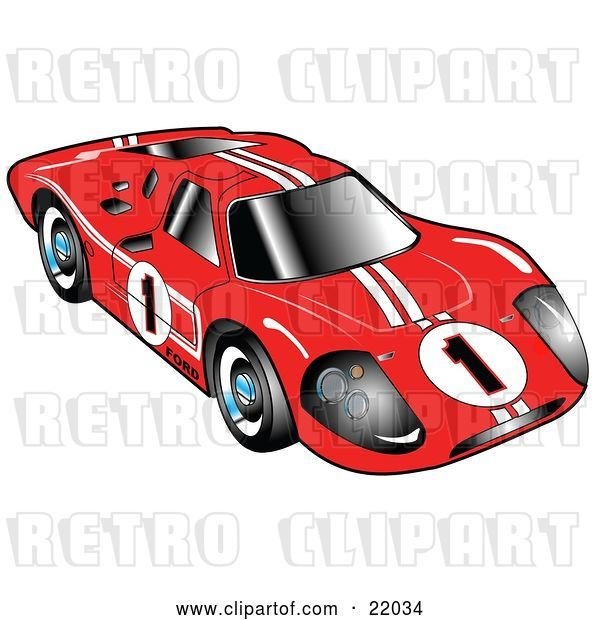 Vector Clip Art of Retro Red 1967 Ford Mark IV GT40 Racing Car with White Stripes and the Number 1