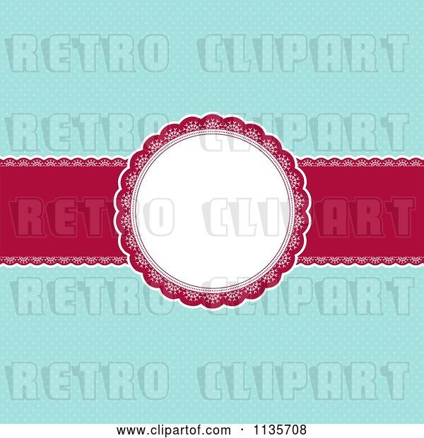 Vector Clip Art of Retro Red and Blue Christmas Background with Dots and a Frame