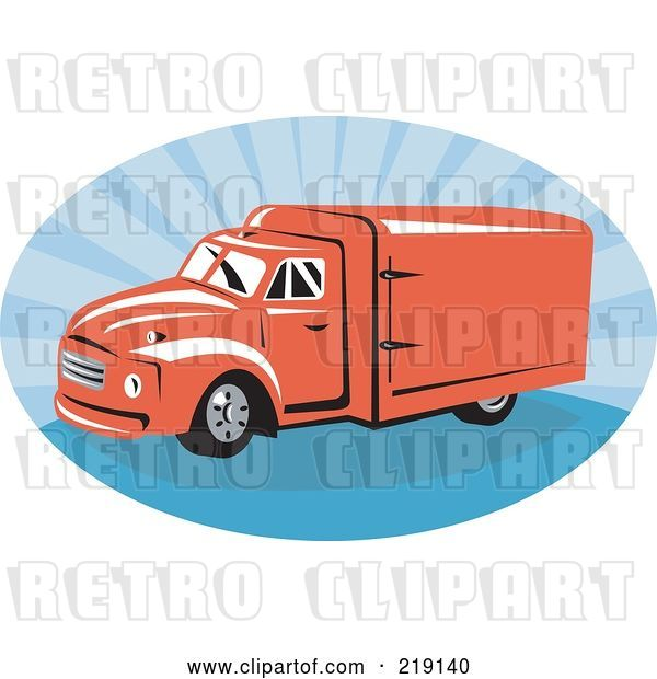 Vector Clip Art of Retro Red and Blue Delivery Van Logo