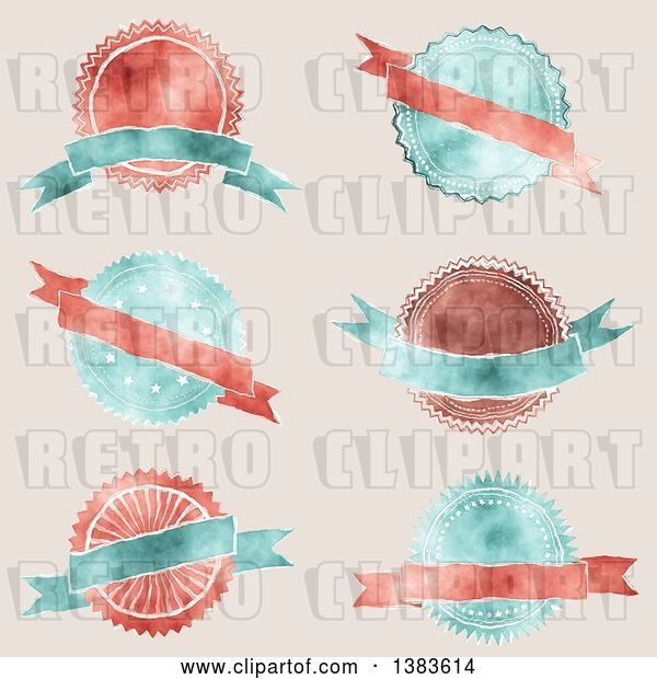 Vector Clip Art of Retro Red and Blue Styled Badge Seal Labels with Blank Ribbon Banners, on Beige