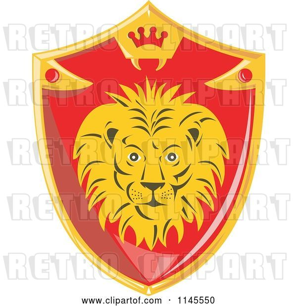 Vector Clip Art of Retro Red and Gold Lion Shield