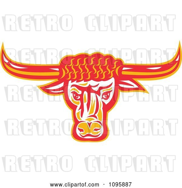 Vector Clip Art of Retro Red and Orange Texas Longhorn Bull Head