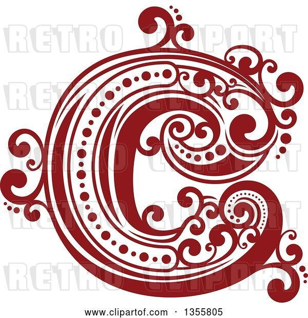 Vector Clip Art of Retro Red and White Capital Letter C with Flourishes
