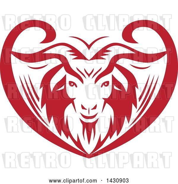 Vector Clip Art of Retro Red and White Cashmere Goat Head in an Ornate Swirl Heart