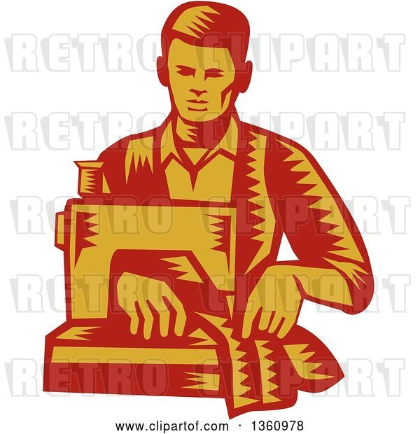 Vector Clip Art of Retro Red and Yellow Woodcut Male Tailor Operating a Sewing Machine
