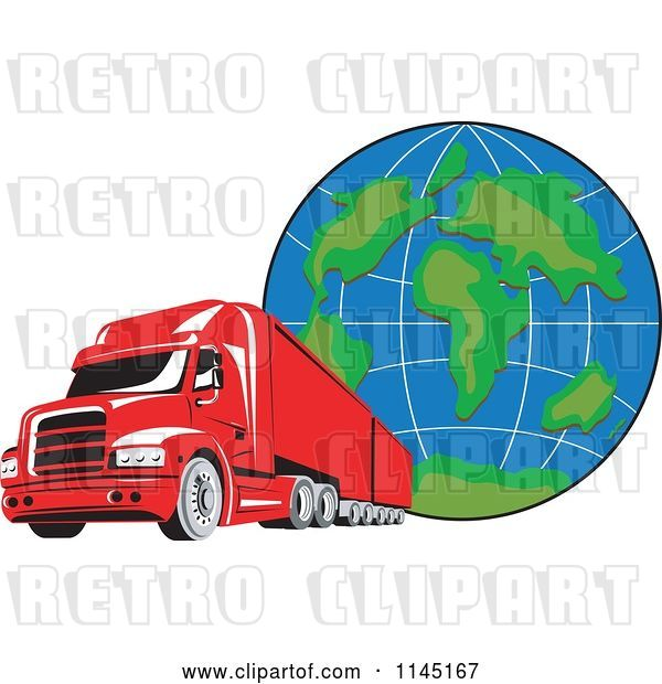 Vector Clip Art of Retro Red Big Rig Truck and Globe 2