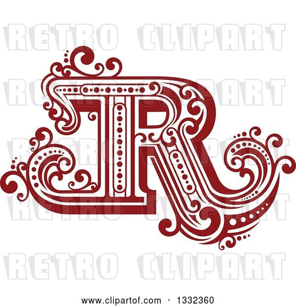 Vector Clip Art of Retro Red Capital Letter R with Flourishes