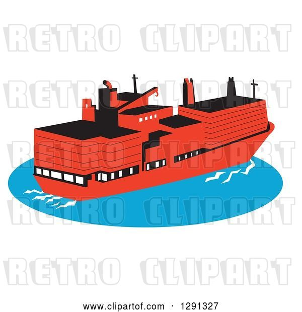 Vector Clip Art of Retro Red Container Cargo Ship on Blue Ocean Water