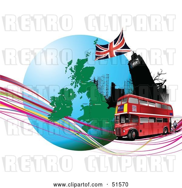 Vector Clip Art of Retro Red Double Decker Bus Passing Big Ben, on an Urban Circle with Continents and Waves