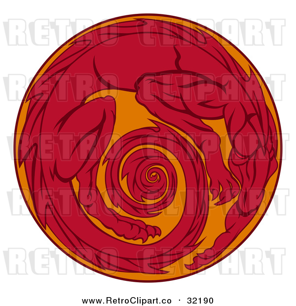 Vector Clip Art of Retro Red Dragon in Circle Egg
