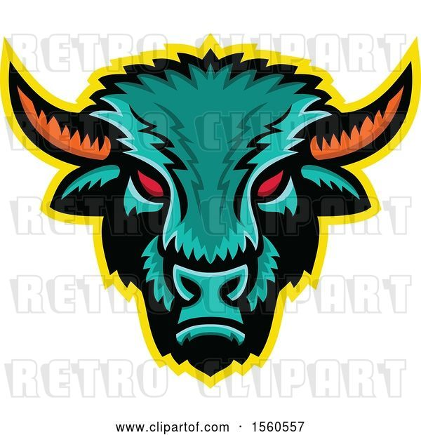 Vector Clip Art of Retro Red Eyed Demonic American Bison Mascot