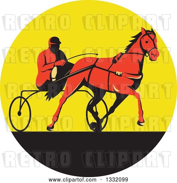 Vector Clip Art of Retro Red Guy Horse Harness Racing in a Yellow and Black Circle