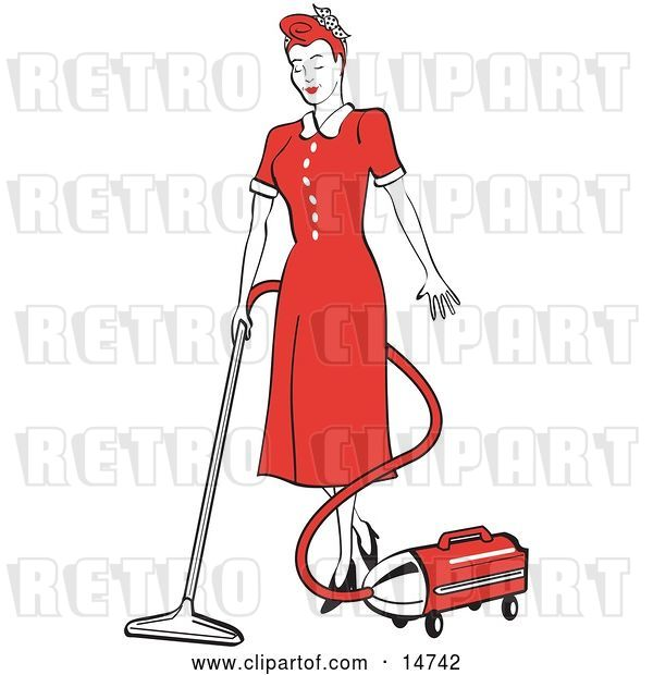 Vector Clip Art of Retro Red Haired Housewife or Maid Lady in a Long Red Dress and Heels, Using a Canister Vacuum to Clean the Floors