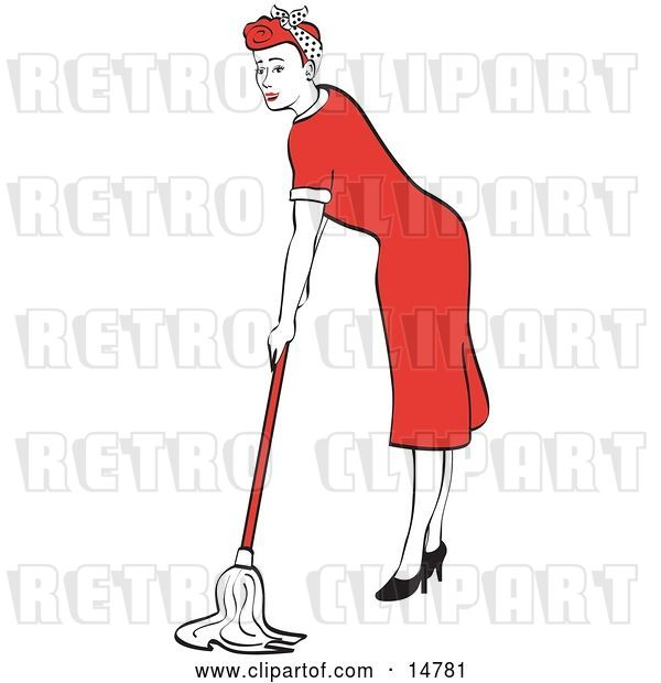 Vector Clip Art of Retro Red Haired Housewife or Maid Lady in a Long Red Dress and High Heels Using a Mop to Clean the Floors