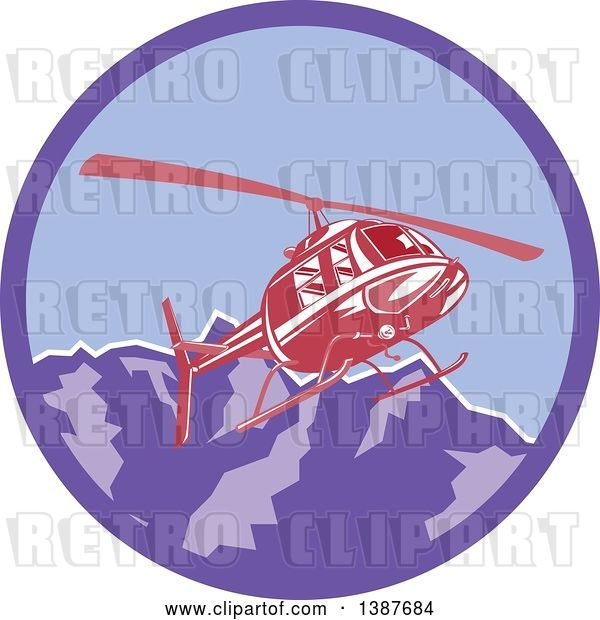 Vector Clip Art of Retro Red Helicopter Flying over the Alps Mountains in a Purple Circle