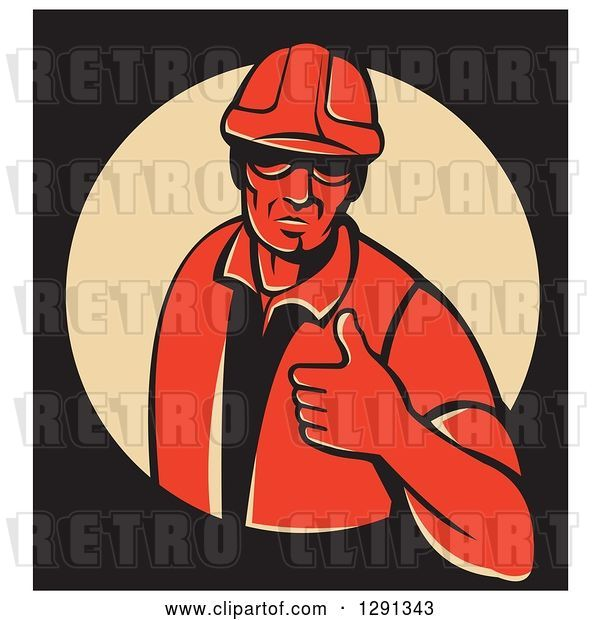 Vector Clip Art of Retro Red Male Construction Worker Holding a Thumb up in a Tan Circle on Black, with a White Border