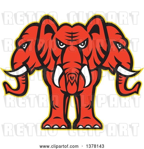 Vector Clip Art of Retro Red Three Headed Elephant with a Yellow Outline