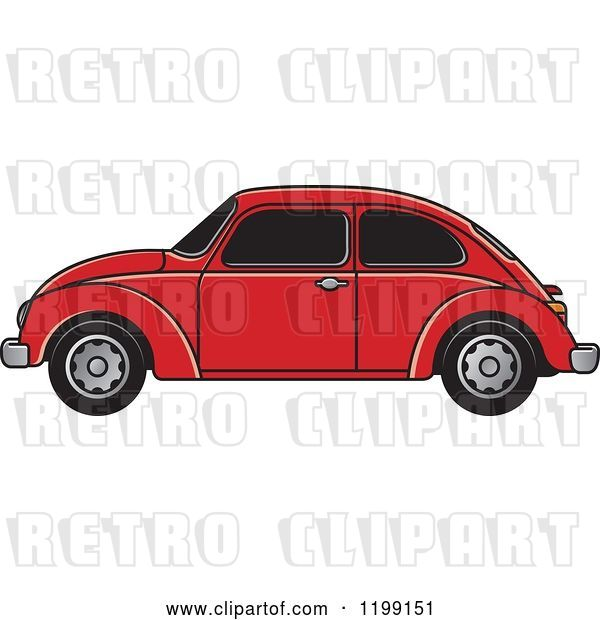 Vector Clip Art of Retro Red Vw Beetle Car with Tinted Windows