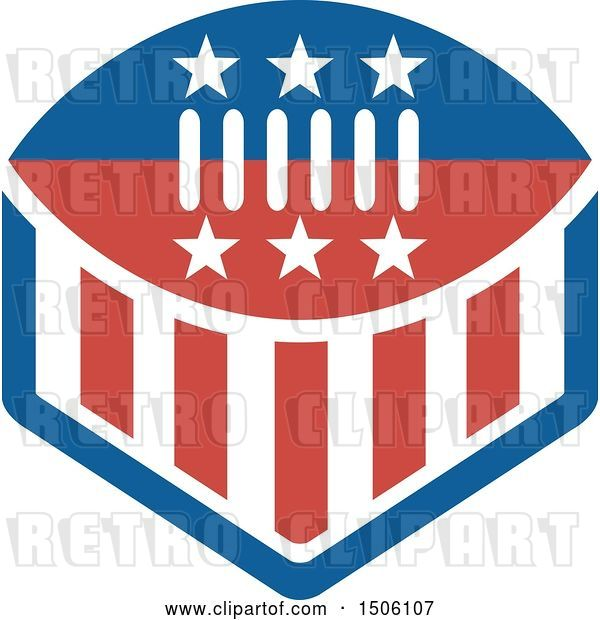 Vector Clip Art of Retro Red White and Blue American Football with Stars and Stripes
