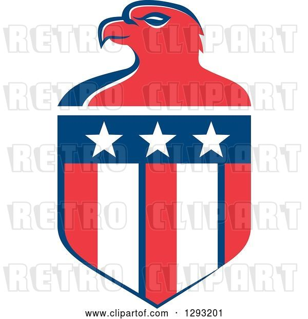 Vector Clip Art of Retro Red White and Blue Bald Eagle Head and American Flag Crest
