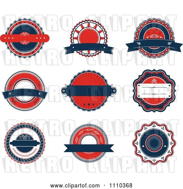Vector Clip Art of Retro Red White and Blue Labels