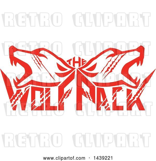Vector Clip Art of Retro Red Wolf Heads over Text