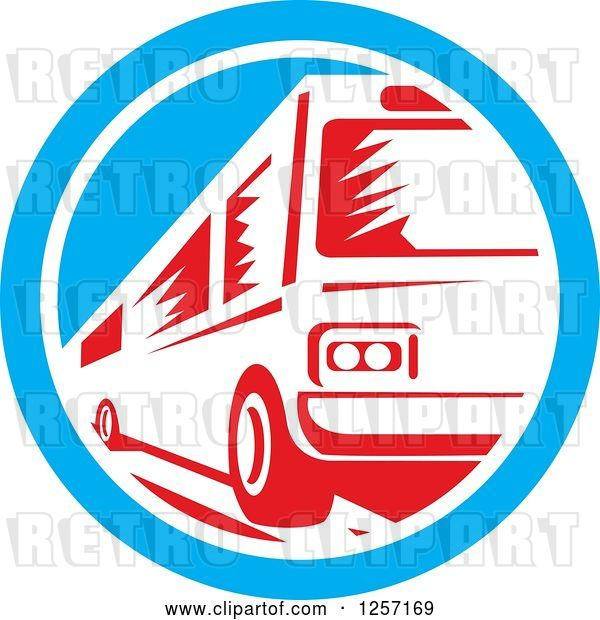 Vector Clip Art of Retro Red Woodcut Bus in a Blue and White Circle