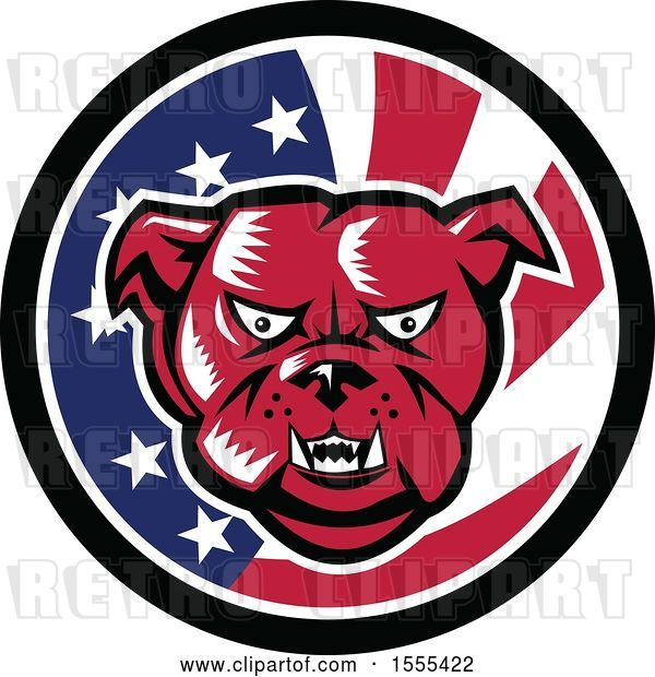 Vector Clip Art of Retro Red Woodcut Guard Bulldog in an American Flag Circle