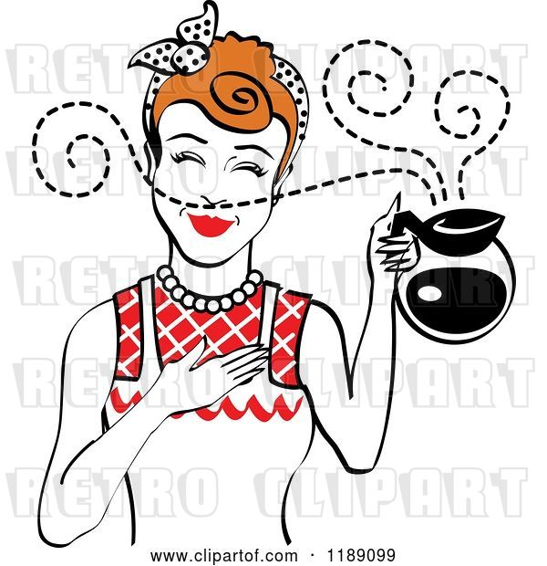 Vector Clip Art of Retro Redhead Waitress or Housewife Smelling the Aroma of Fresh Hot Coffee in a Pot 2