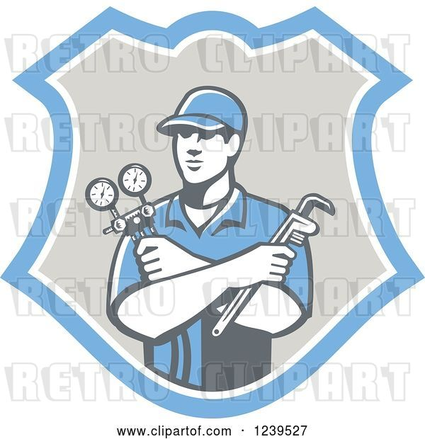 Vector Clip Art of Retro Refrigeration Mechanic Worker Holding a Pressure Gauge in a Shield