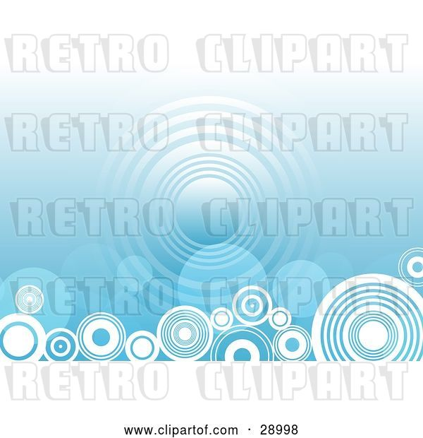 Vector Clip Art of Retro Repeat Circle in the Center of a Gradient Blue Background with White Circles Along the Bottom