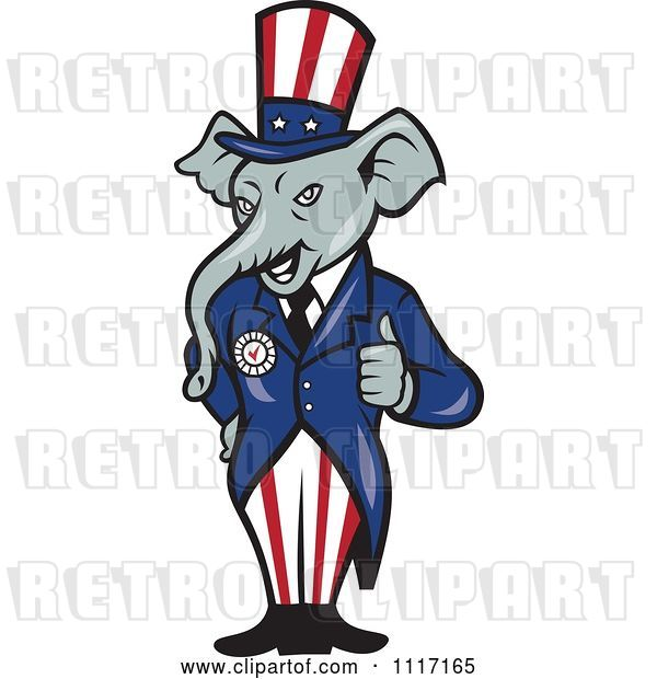 Vector Clip Art of Retro Republican GOP Party Elephant Uncle Sam Holding a Thumb up