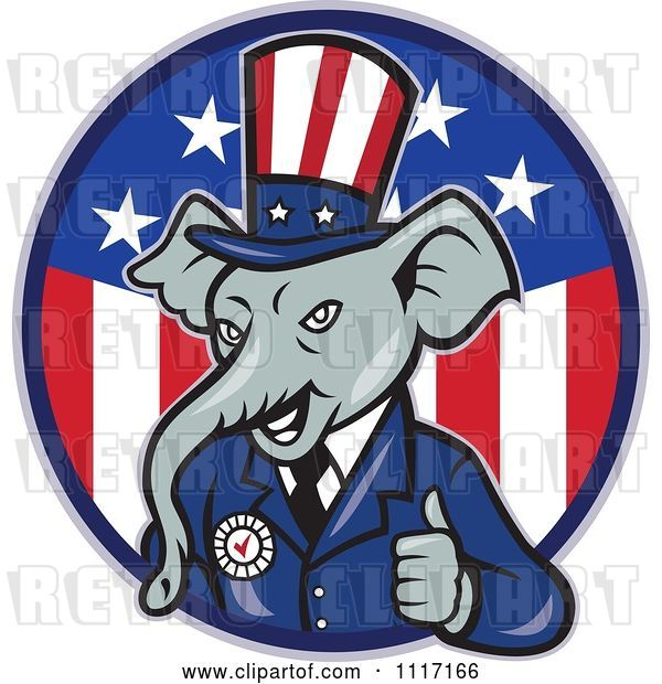Vector Clip Art of Retro Republican GOP Party Elephant Uncle Sam Holding a Thumb up over an American Circle